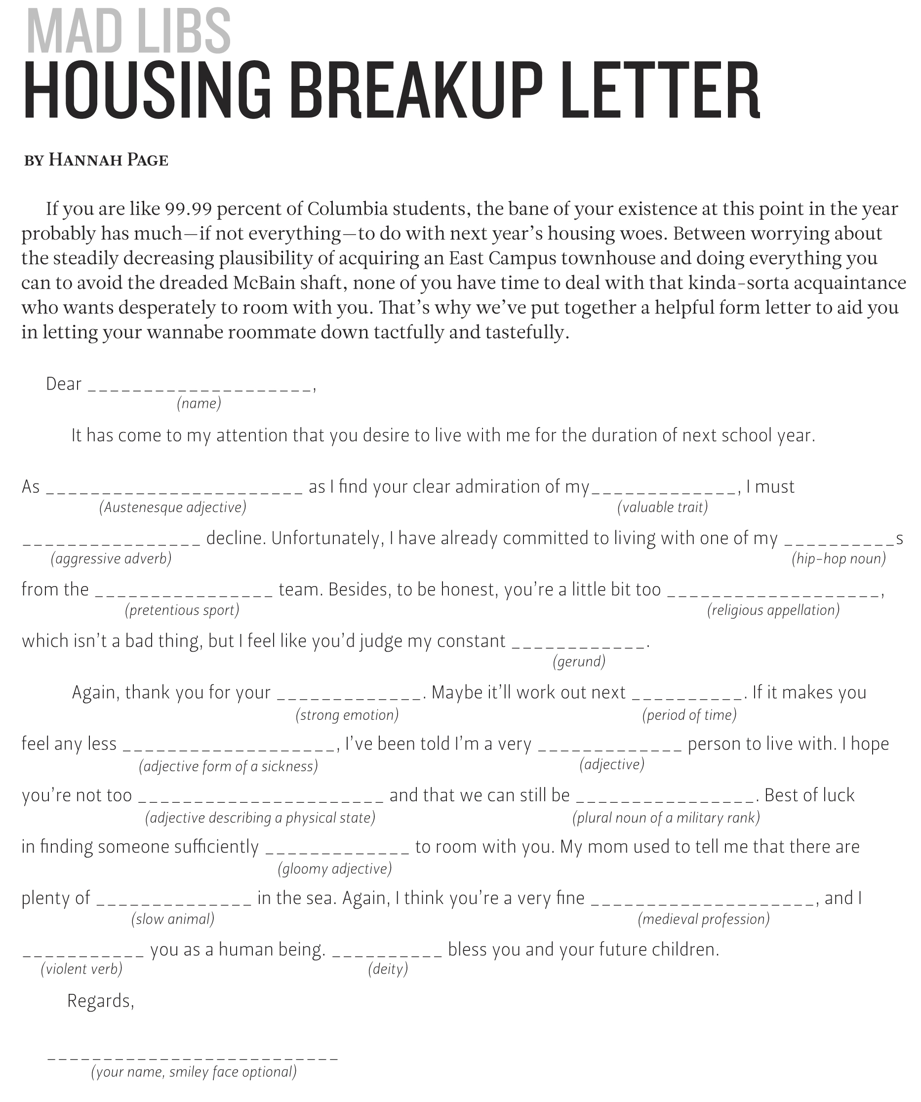 Housing breakup letter columbia daily spectator article image expocarfo Image collections